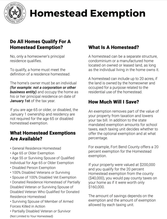 katy taxes homestead exemption